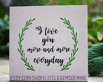 Rustic wedding signs // rustic sign // I love you more  // Thanksgiving // home decor // wedding decor // handprinted sign