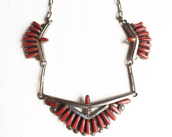 Vintage Zuni Red Coral Sterling Silver Boho Bib Southwestern Native American Tribal Necklace
