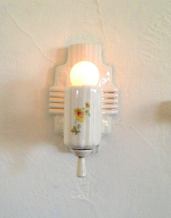 Antique Wall Sconce White Porcelain Art Nouveau Single Bulb