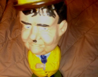 Vintage Oliver Hardy Vividly Colored Ceramic/Chalkware Statue 16''