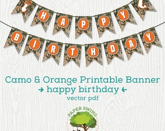 Printable Happy Birthday Orange Camo Banner