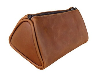 Soft Leather Travel Dopp Kit for Toiletries Handmade by Hide & Drink - Bourbon Brown