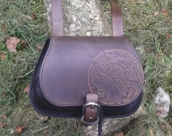 """Leather crossbody bag,celtic dragon  design , colour """"marron-chêne et noir""""(16 colours avaible)"""