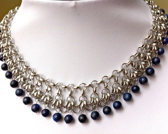 Lapis lazuli and stainless steel choker