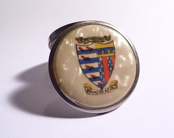 Antique PEMBROKE COLLEGE Stratnoid compact RARE early Stratton powder compact 1930s celluloid compact mirrors