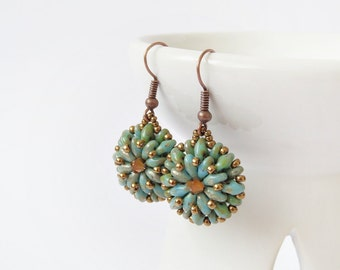 Turquoise earrings, beaded earrings, beadwork earrings, dangle earrings, seed beaded earrings, fashion earrings, office jewelry