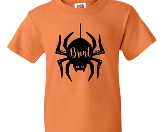 Personalized Halloween Spider Toddler Boys Clothing-Shirt