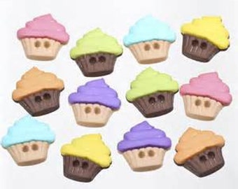 SET of 12 Yummy 2 Holed Sweet Yummy Cupcake Sewing Button Collection