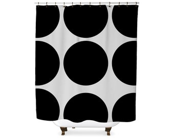 Black and white giant dots graphic shower curtain