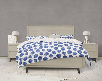 Indigo paint dots pattern duvet cover