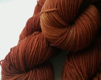 Hand dyed merino sock yarn - chestnut