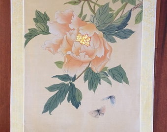 Chinese Watercolor on Silk Art / Asian  Peonies Painting on Silk Picture  / Vintage Chinese Art