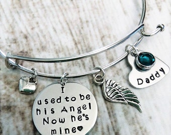 Personalized Memorial Bracelet, Memorial Jewelry, Loss of Father Bangle, Remembrance Jewelry, In Memory of Bracelet, Daughter Gift, Sympathy