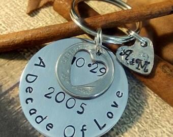 Personalized 2005-2006 Key Chain,10 Year Key Chain,Anniversary Decade Keychain,10 Year Anniversary Key Chain,Dime Keychain,Anniversary Gift