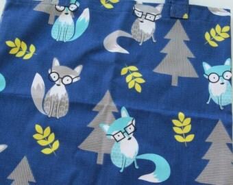 Foxy Blue Fabric School Library Book Tote Bag