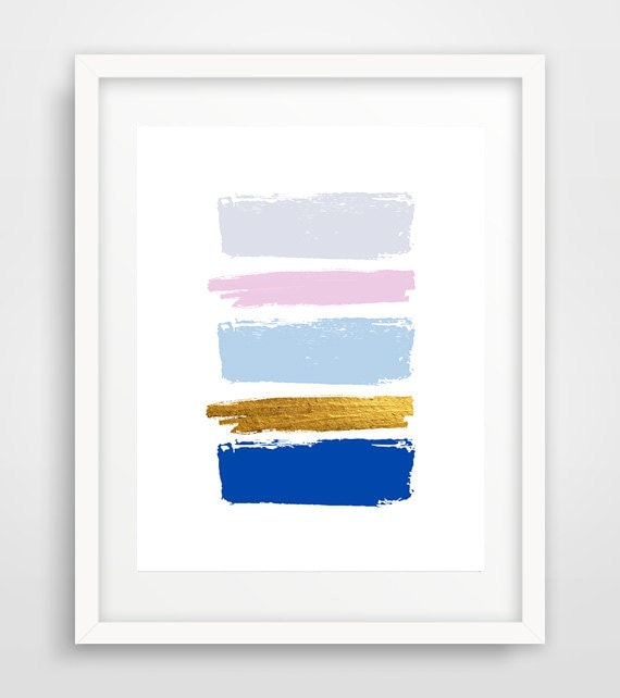 Items similar to blue brush strokes abstract painting for Modern minimalist wall art