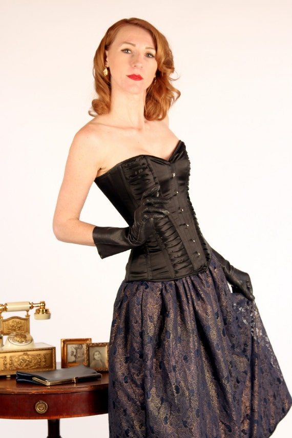 Exclusive satin overbust authentic corset with classy drapery for Steel boned corset wedding dress