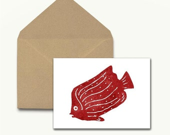 Red Fish Note Cards – Set of 10 With Envelopes