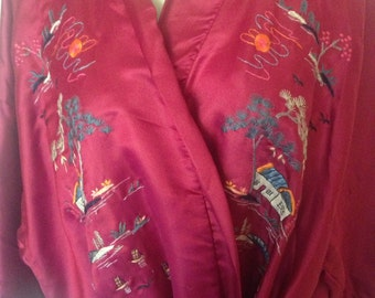 1970's Asian Silk Embroidered Robe