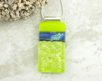 Bright Green and Blue Dichroic Glass Pendant - Fused Glass Jewelry
