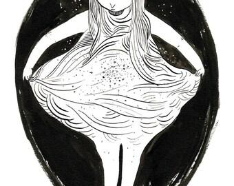"Original ink drawing ""I"
