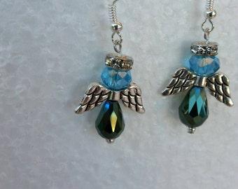 Blue & Green Angel Earrings
