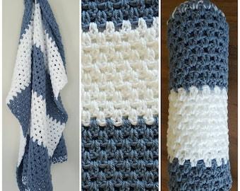 Crochet Blanket, Blue Crochet Blanket,knitted blanket, A H Baby Boutique, Baby Shower Gift, Knit, Pram Blanket, Bassinet Blanket