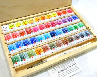 White Nights 48 pc set Watercolor cuvettes brush wood