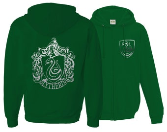 Harry potter Inspired Slytherin House Zip Up Unisex Adult Hoodie with silver emblem in front and back.
