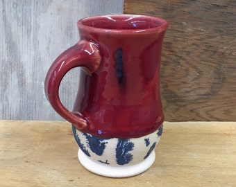 Handmade Ceramic Mocha Diffusion Mug in Red 16 oz