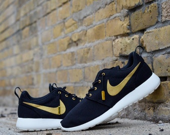 New Custom Nike Roshe Run OVO Any Size Made To Order Gold and Black Trophy Ovo