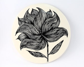 Hand painted flower earthenware art tile - ceramics and pottery