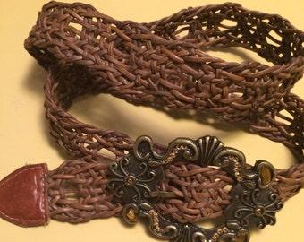 Vintage leather rock belt made in USA/western belt