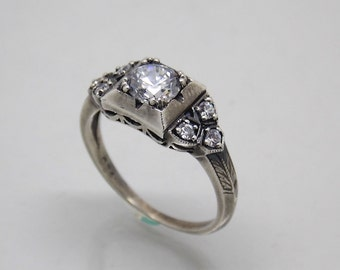 Retro Vintage Hand Made Sterling Silver 925 White Stone Engagement Ring