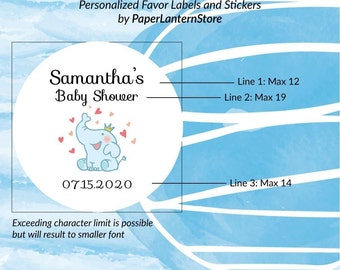 """Set of 24 - 1.5"""" Round Party Favor Stickers, Baby Shower Sticker, Personalized in 1.5"""" Circular Label Sticker, Baby Elephant"""