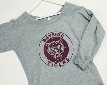 Bayside High Tigers Campus Fleece Slouchy Crew, Kelly Kapowski Costume, Saved by the Bell