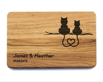 Wedding Gift Custom Cutting Board Cats. Wedding Gift for couple, Bridal Shower Gift, Personalized Wedding Gift, Wedding Gift Present