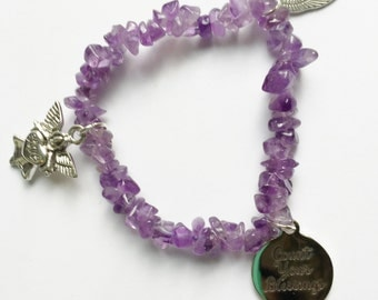 Amethyst Bracelet Angel Charm Stretch