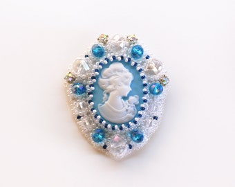 embroidered blue white brooch with beads, crystals, rhinestones and cameo