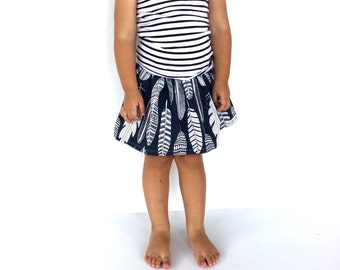 handmade navy boho feather print girls skirt, gathered elastic waist, 100% cotton, navy and white fabric