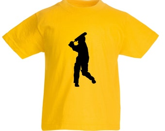 Kids Cricket Batsman T-Shirt / Childrens Cricketer T Shirt in Blue, Yellow, Pink, Grey, Navy / Ages: 3-4, 5-6, 7-8, 9-11, 12-13