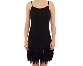 Majica- Feathered Dress - Black with Black Feathers