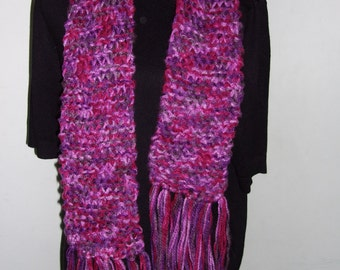 Hand Knitted Shades of Purple Scarf.