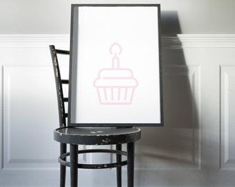 Cupcake Icon Art Print—Food Art, Modern Art, Kitchen Decor