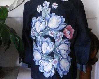 Denim blazer upcycled with floral design