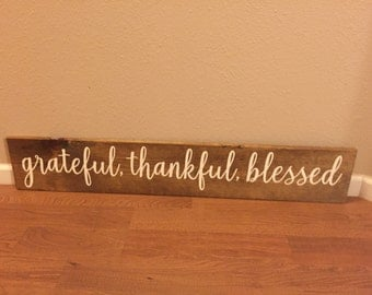 """Wooden Sign Grateful, Thankful, Blessed - 7.5""""x42"""" - Love Family Rustic Decor Farmhouse Style Fixer Upper Wooden (Item - GTB100)"""