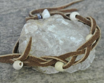 Braided Leather White Wood Bead Bracelet