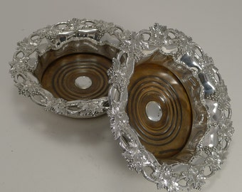 Superb Pair Antique English Wine Coasters or Slides in Silver Plate by William Padley