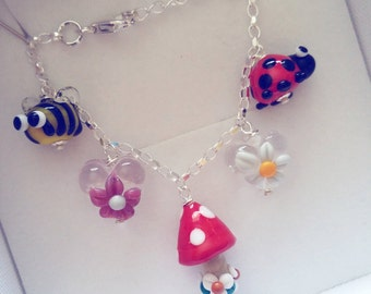 Child's Charm Bracelet Sterling Silver - Gifts for Kids - Lampwork Glass - Charm Bracelet - Memory Bracelet - Keepsake - Jewelry