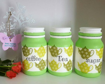 Green kitchen jars, apple green kitchen canisters, lime green teapot gift, teatime gift, fresh green kitchen decor, coffee tea sugar jars.